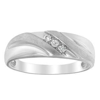 10k White Gold Men's 1/6ct TDW Round Diamond Ring (I-J, I1-I2)