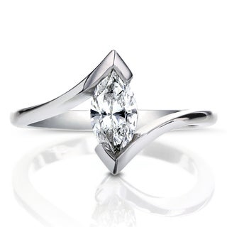 Annello 14k White Gold Certified 3/4ct Marquise Solitaire Diamond Engagement Ring (G, SI1-SI2)
