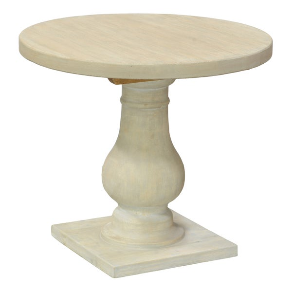 Johnnie Pine Round Side Table