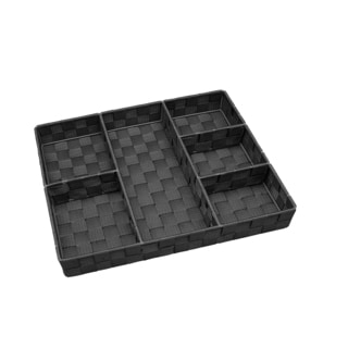 Simplify 6-compartment Black Woven Strap Drawer Organizer