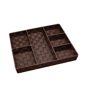 Simplify 6-compartment Chocolate Woven Strap Drawer Organizer