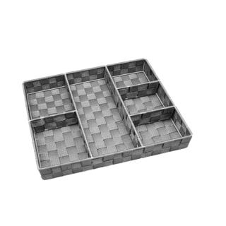Simplify 6-compartment Heathergrey Woven Strap Drawer Organizer