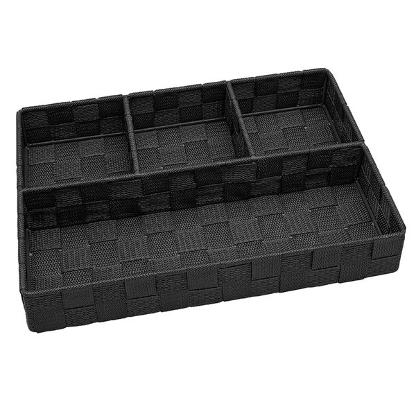 Simplify 4-compartment Black Woven Strap Drawer Organizer