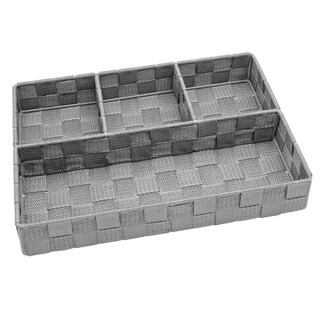 Simplify 4-compartment Heathergrey Woven Strap Drawer Organizer