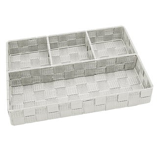 Simplify 4-compartment Ivory Woven Strap Drawer Organizer