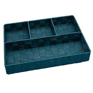 Simplify 4-compartment Sapphire Woven Strap Drawer Organizer