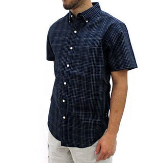 Narragansett Traders Men's Navy Short Sleeve Plaid Button Down Shirt