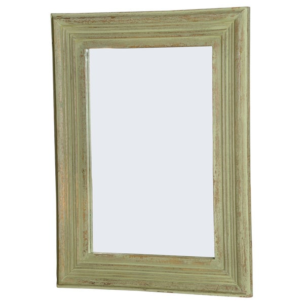 Rectangular Mango Wood Green Antique Finish Mirror