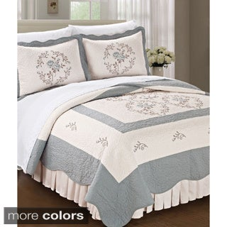 BNF Home Classic Embroidered Prewashed Roses King Sized 3-piece Bedspread Set
