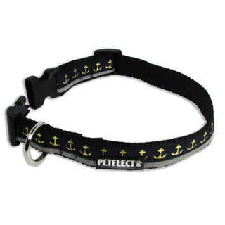 Petflect Gold Anchors On Navy Reflective Dog Collar