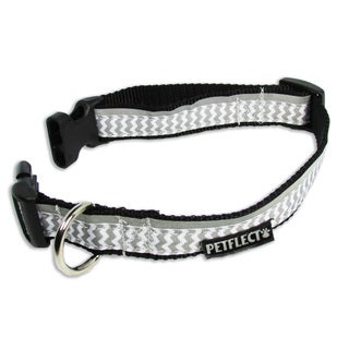 Petflect Grey Chevron Reflective Dog Collar