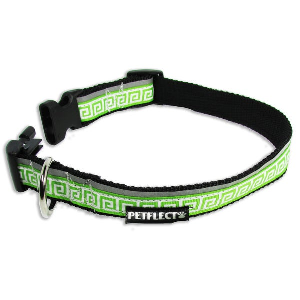 Petflect Greek Key Green Reflective Dog Collar