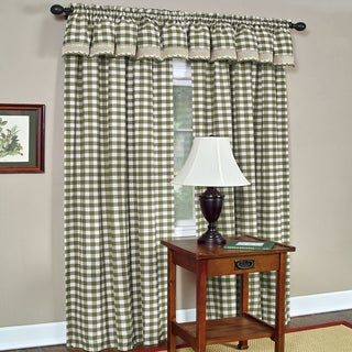 Classic Buffalo Check Window Panel and Valance Set or Separates- Sage/White