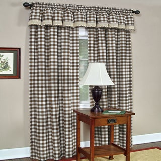 Classic Buffalo Check Window Panel and Valance Set or Separates- Chocolate