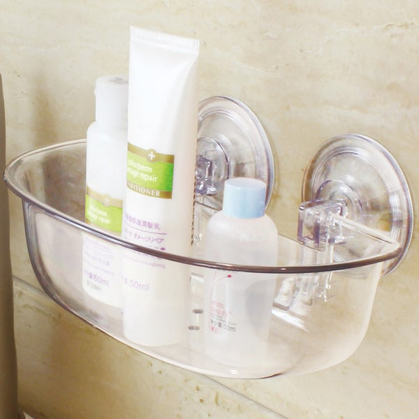 Push and Lock Long Lasting Clear Acrylic Suction Bath Basket