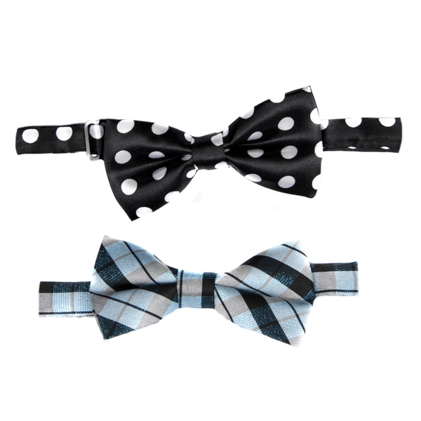 Crummy Bunny Boys' Adjustable Pre-tied Blue and Black Bow Tie (Set of 2)
