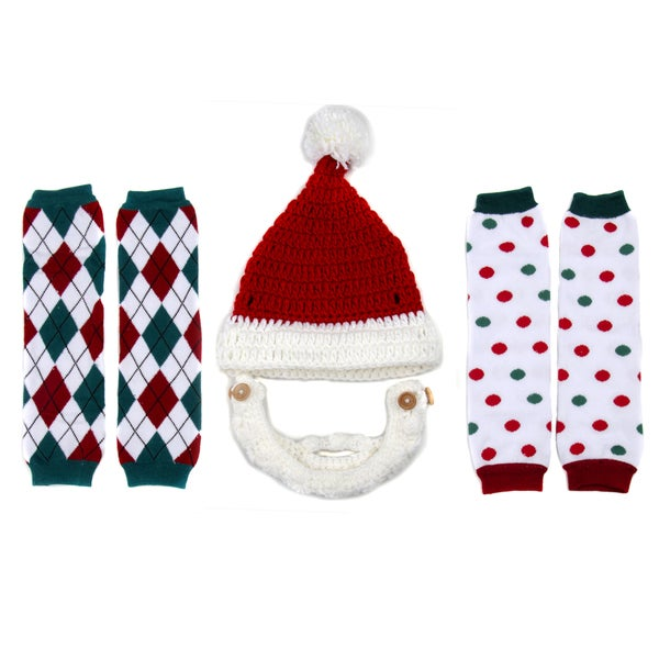 Crummy Bunny Children's Christmas Leggings and Santa Beard Hat Set