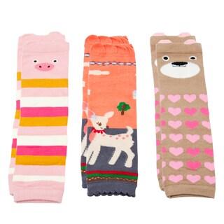 Crummy Bunny Baby Girls' Pink Leg Warmers (Set of 3)