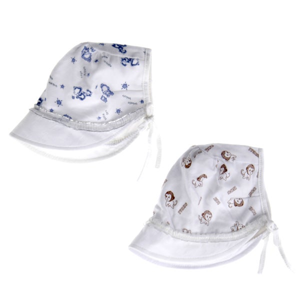 Crummy Bunny Boys' Brown and Blue Sun Hat (Set of 2)