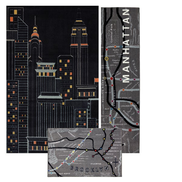 Mohawk Home Aurora New York City 3 Piece Rug Set (Set Includes: 5x8, Runner and Scatter)