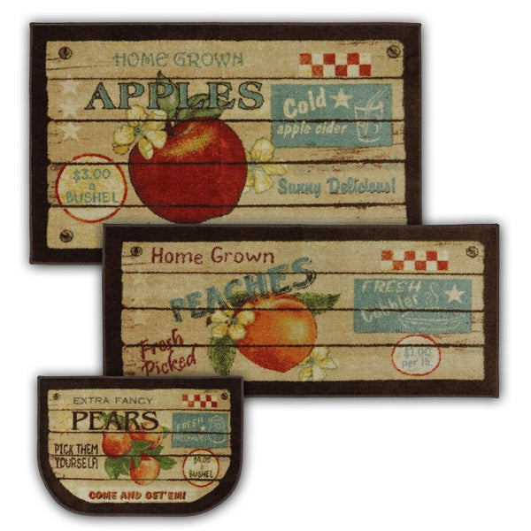 Mohawk Home New Wave Fruit Crate 3 Piece Kitchen Rug Set