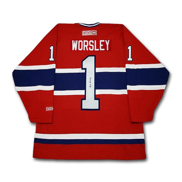 Gump Worsley Autographed Red Montreal Canadiens Jersey