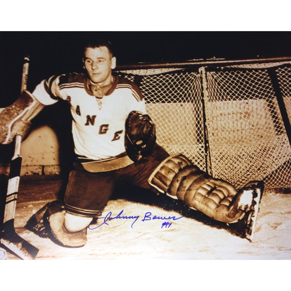 Johnny Bower Autographed 8X10 Sepiatone Photograph - New York Rangers