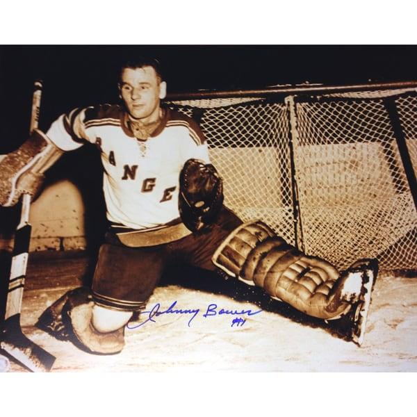 Johnny Bower Autographed 8X10 Sepiatone Photograph - New York Rangers
