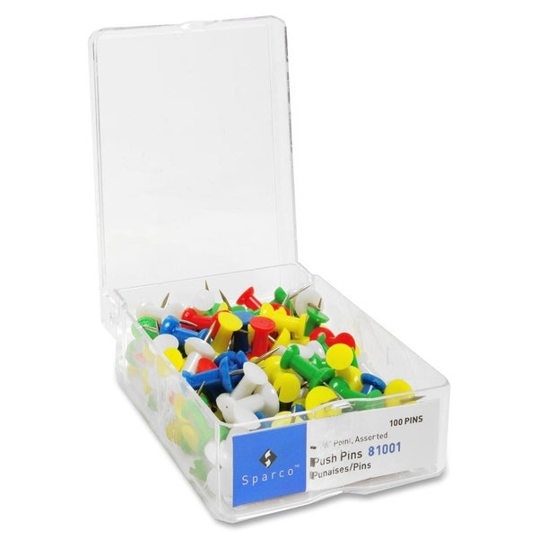 Sparco Assorted Colors Push Pins - 1 Box