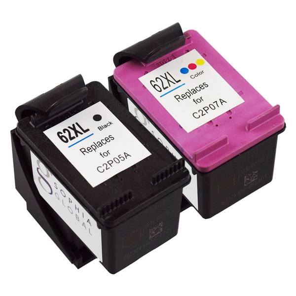 Sophia Global Remanufactured Ink Cartridge Replacement for HP 62XL (1 Black, 1 Color)