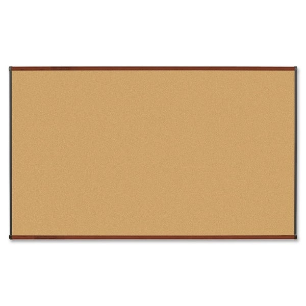 "Lorell Mahogany Finish 72""H x 36""W Natural Cork Board"
