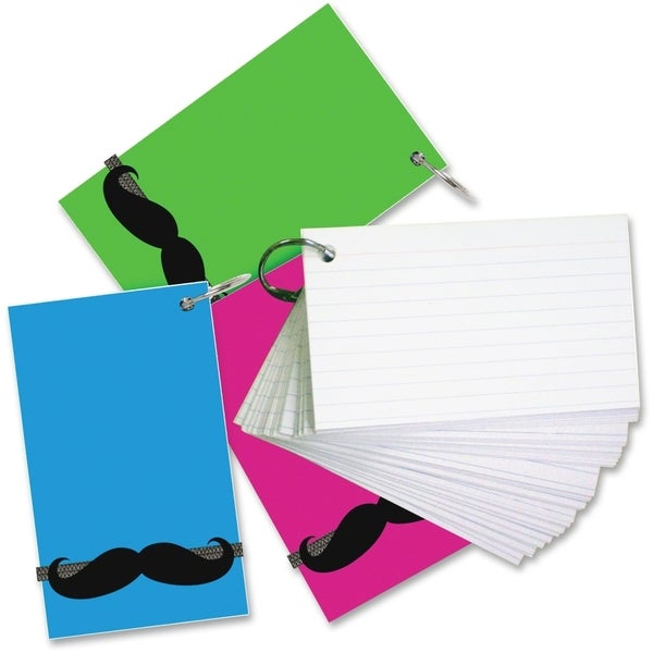 Redi-Tag Mustache Band Ruled Index Cards - Pack of 3