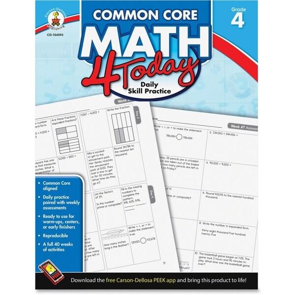 Carson-Dellosa Common Core Math 4 Today Workbook Education Printed Book for Mathematics - English - 1/EA 15806361