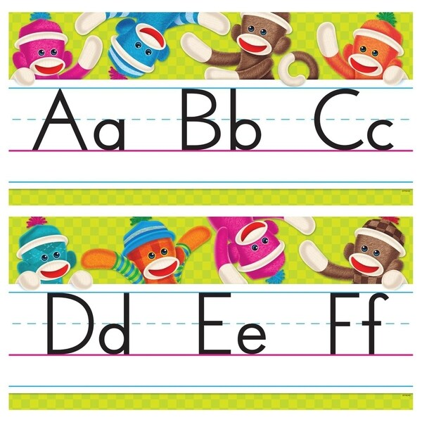 Trend Sock Monkeys Alphabet Line Standard Manuscript Bulletin Board Set - 1/ST