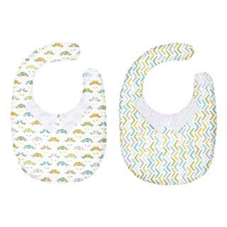 Crummy Bunny Boys' Reversible Turtle and Chevron Print with Dress Collar Bib
