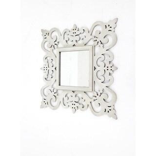 Teton Home White Wood Mirror Decor