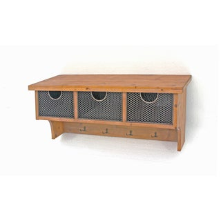 Teton Home Natural Wood Finish Wall Shelf with 4 Hooks