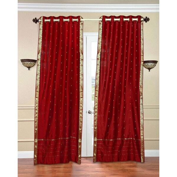 84 inch forest green ring top sheer sari curtain drape window panel