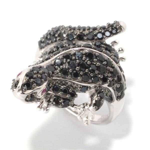 Sterling Silver Black Spinel Salamander Ring