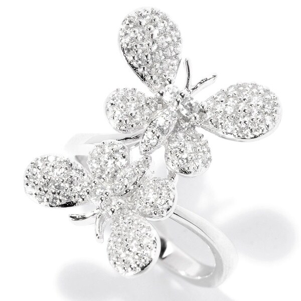 Sterling Silver White Zircon Butterfly Ring