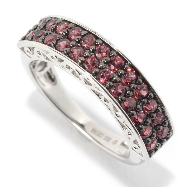 Sterling Silver Double-row Rhodolite Stackable Ring 15813761