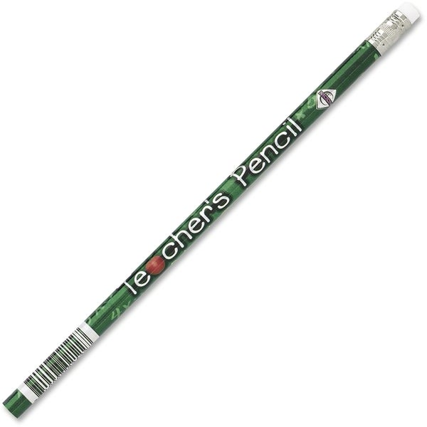 Moon Products Decorated Wood Pencil, Teacher's Pencil, HB #2, Black Barrel, Dozen - 1/DZ