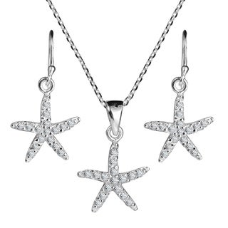 Starfish Sparkling CZ .925 Silver Necklace Earrings Set (thailand)