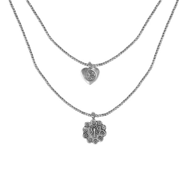 One of a Kind Heart Om Karen Tribe Silver Layered Necklace (Thailand)
