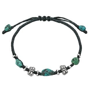 Mini Butterfly Turquoise Black Waxed Cotton Rope Bracelet (Thailand)