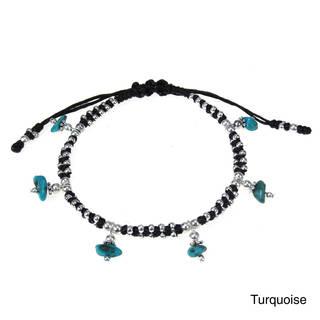 Thai Karen Hill Tribe Stone Dangle Waxed Rope Bracelet (Thailand)