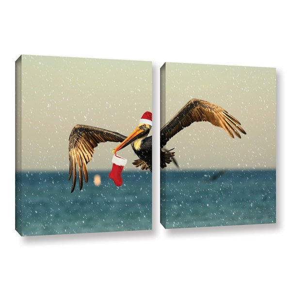 ArtWall Lindsey Janich 'Christmas Pelican 1' 2 Piece Gallery-wrapped Canvas Set
