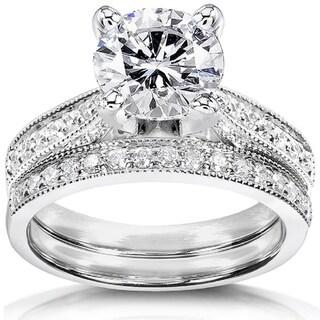 Annello 14k White Gold Round Forever Brilliant Moissanite and 1/3ct TDW Diamond Bridal Rings Set (G-H, I1-I2)