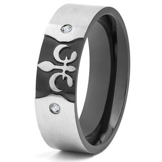 Blackplated and Brushed Stainless Steel Fleur De Lis Cubic Zirconia Ring (7 mm)