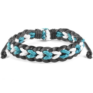 Black Leather, Blue and White Pattern Braided Bracelet (7.5 inches)